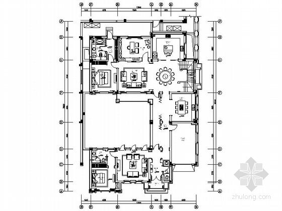 [杭州]精品典雅欧式风格两层别墅样板间CAD装修施工图