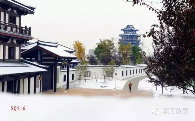 最美不过初雪,宿迁的项王故里就变成了西楚古城_7