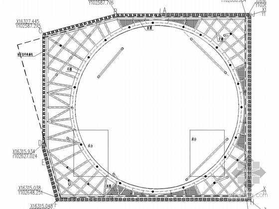 [广东]超高层建筑14米深基坑桩撑支护施工图(圆形内支撑)