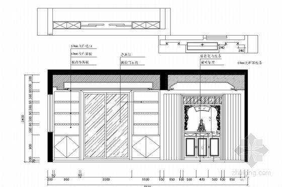 花园式住宅区欧式风格三层别墅装修图(含效果图) 餐厅立面图