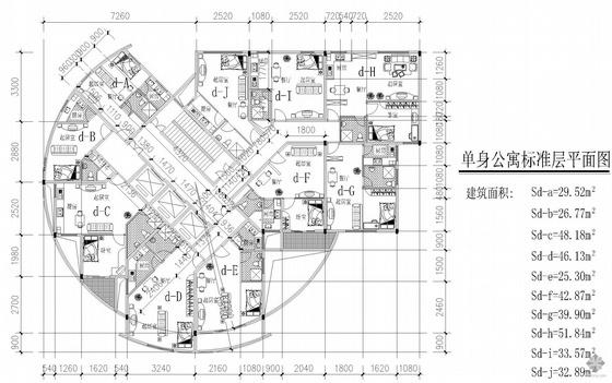 塔式高层一梯十户单身公寓户型图