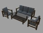 木制藤编沙发3D模型下载