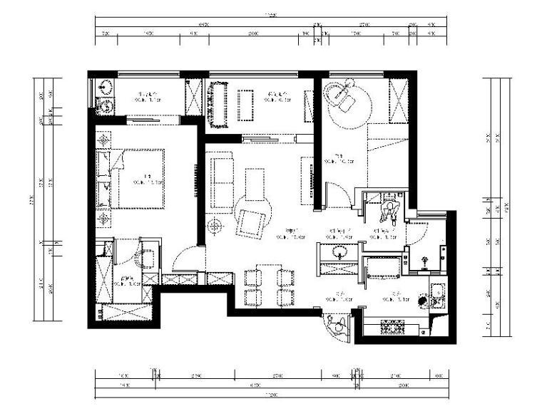 [武汉]欧式风情浪漫温馨样板房室内设计施工图(含实景图)
