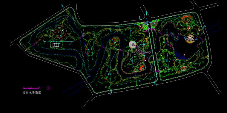 山东菏泽市牡丹园生态休闲绿地施工图.-给排水平面图