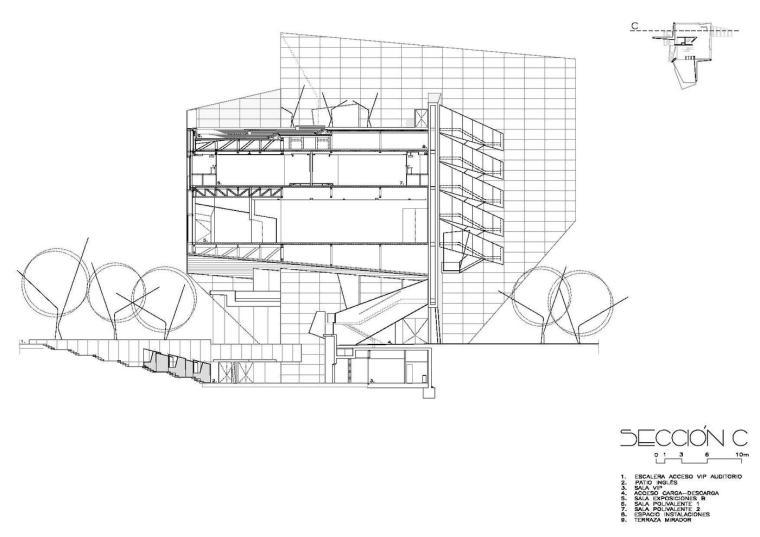 西班牙独特雕塑般构造的文化中心剖面图 (28)