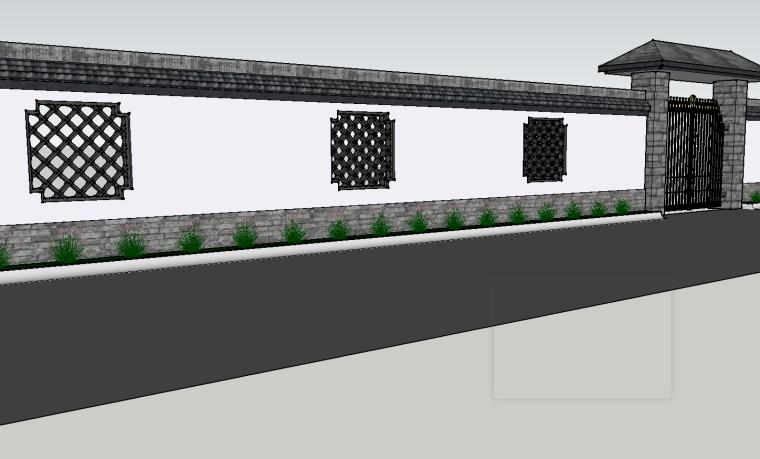 [景观小品]中式风格围墙SU模型.skp