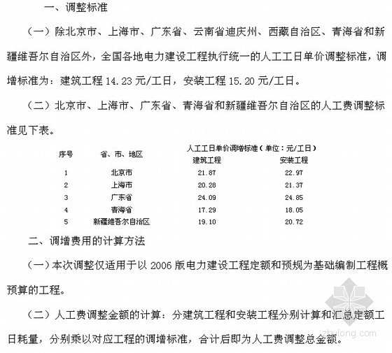 电力建设工程定额人工费调整(定额〔2011〕39号)