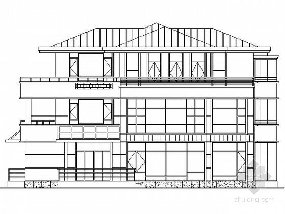 某三层坡屋顶别墅方案图(南入口)