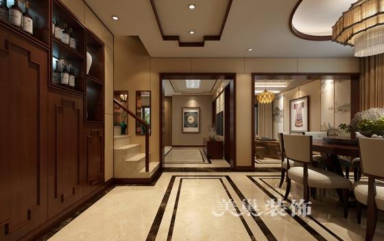 洞林湖新田城260平装修案例新中式风格玄关鞋柜图片