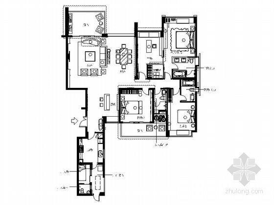 [成都]典雅欧式A户型四居室样板间装修施工图(含方案)