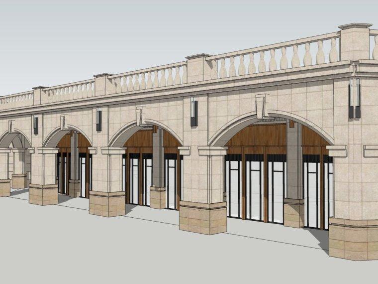 欧式风格一层商业街建筑模型设计