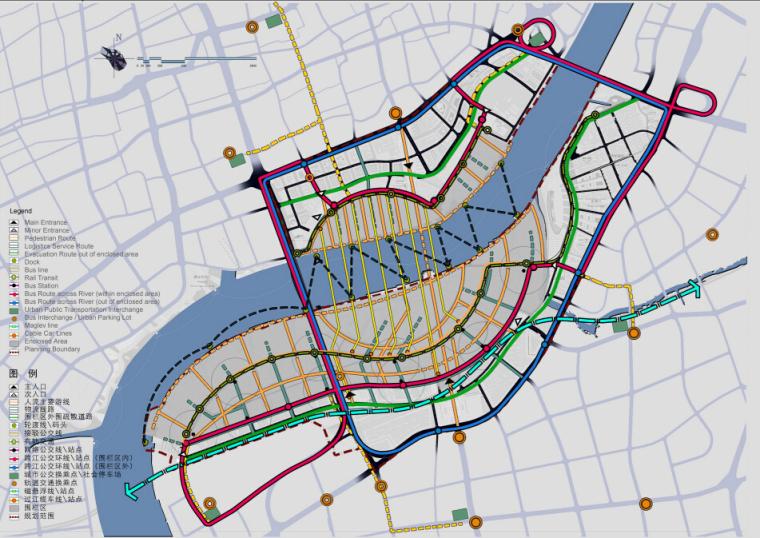 上海世博会规划设计方案文本-交通结构分析图