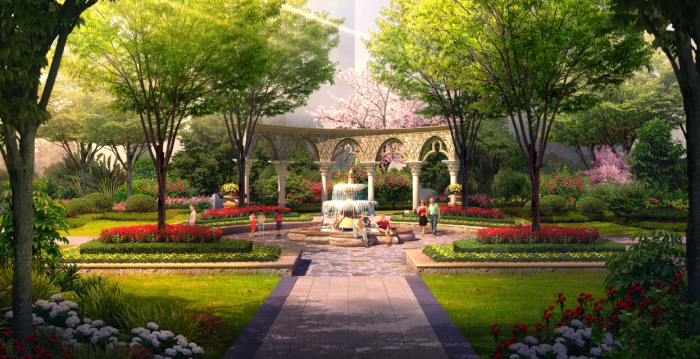 [湖北]湖山林地浪漫欧式风情住宅花园景观规划设计方案