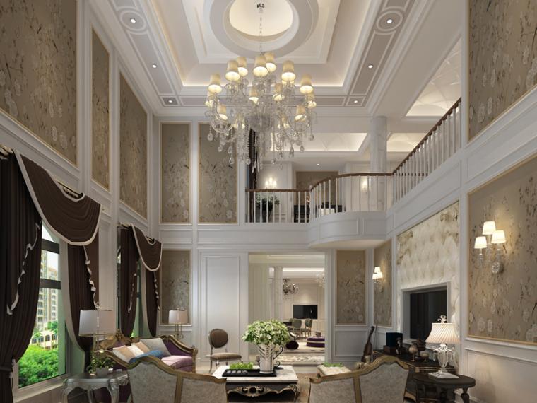 现代欧式别墅客厅3D模型下载