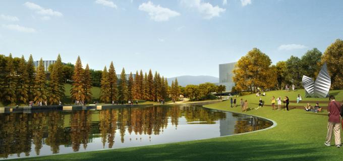 中心景观湖效果图