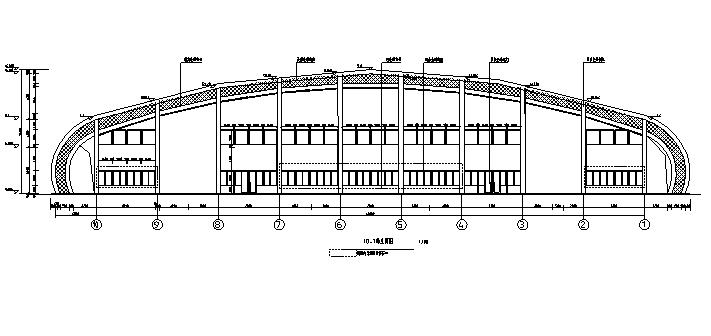 三层拱形屋面全民健身中心建筑剖面图