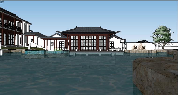 中式古建园林院落su模型