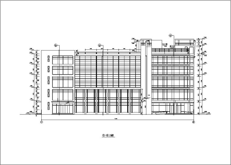 5套商务办公楼建筑设计施工图CAD-多层办公综合楼建筑设计立面图2