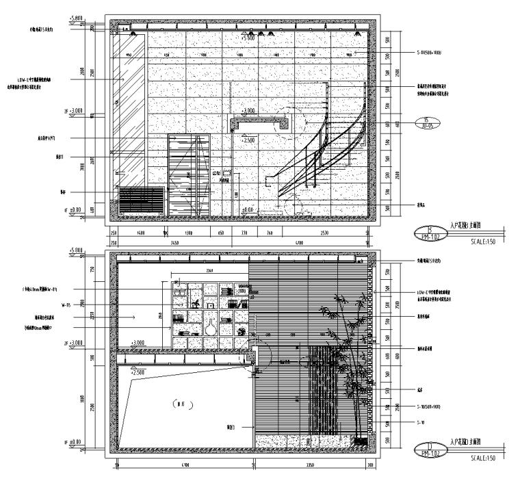 北京某别墅室内装修设计施工图及效果图-入户花园立面图