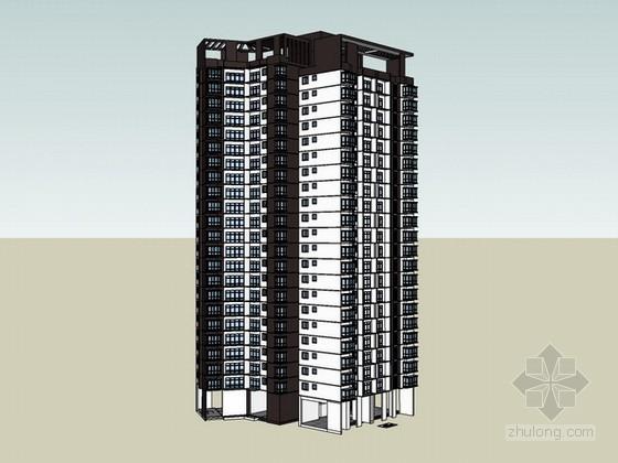 现代高层商业住宅楼sketchup模型下载