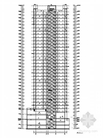 [四川]一级高层框架剪力墙结构塔式住宅楼建筑施工图(含两套方案)-一级高层框架剪力墙结构塔式住宅楼建筑剖面图