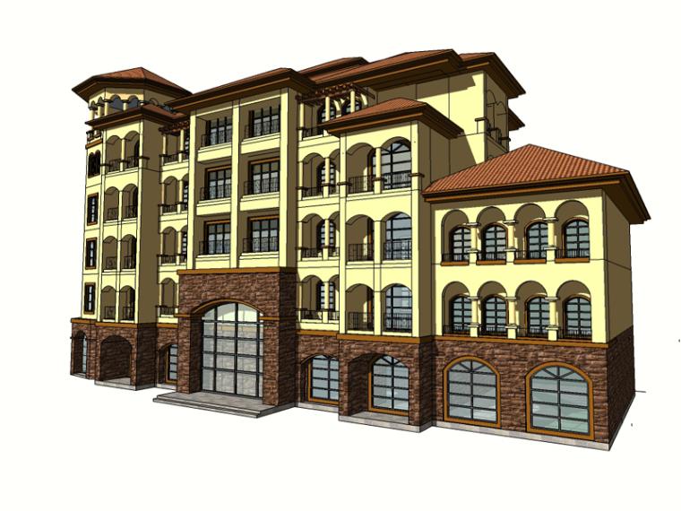多层欧式建筑SketchUp模型下载