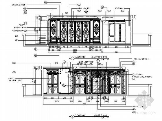 精品豪华欧式风格三层别墅室内装修施工图(含方案效果图)主卧立面图