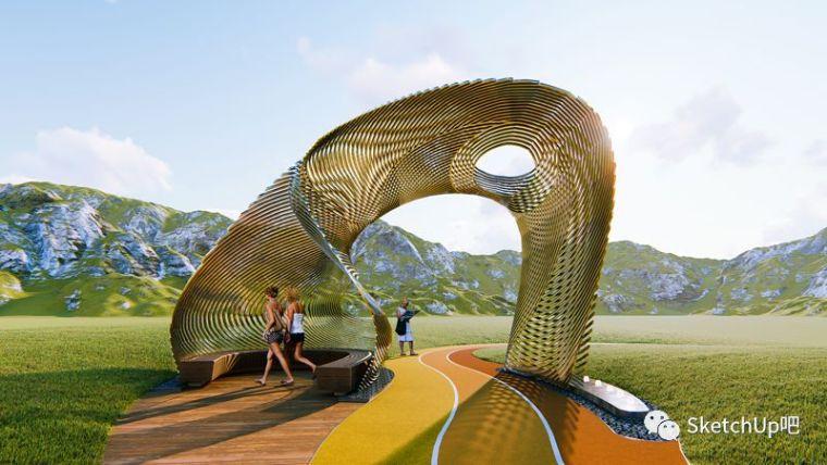 曲线与曲面的交融—异形雕塑亭建模