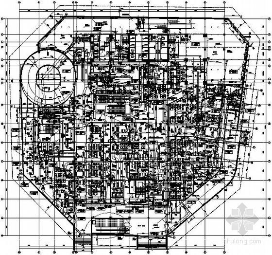 [石家庄]商业广场空调通风设计全套施工图(200米,地下室)