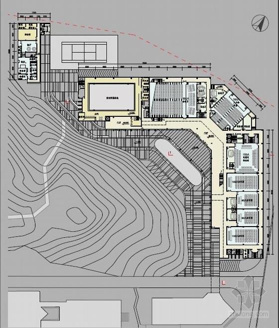 """[广东]高层连廊式石材外墙""""山景""""机关办公楼建筑设计方案文本-高层连廊式石材外墙""""山景""""机关办公楼建筑平面图"""