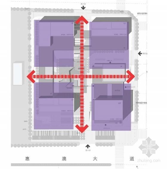 [广东]高层半围合式骑楼布局办公大厦建筑设计方案文本-高层半围合式骑楼布局办公大厦建筑分析图