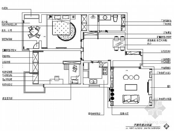 精品复古现代风格两居室室内装修设计施工图(含效果)