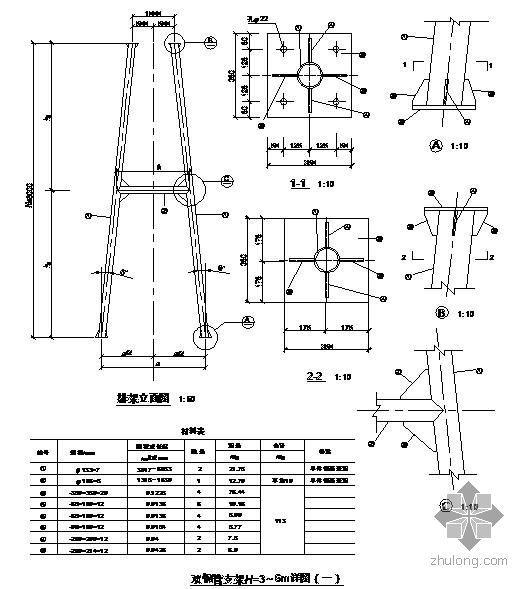 某3~6米双钢管支架节点构造详图