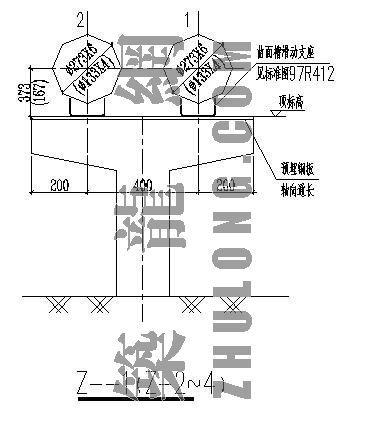 蒸汽采暖管道横断面及支墩详图
