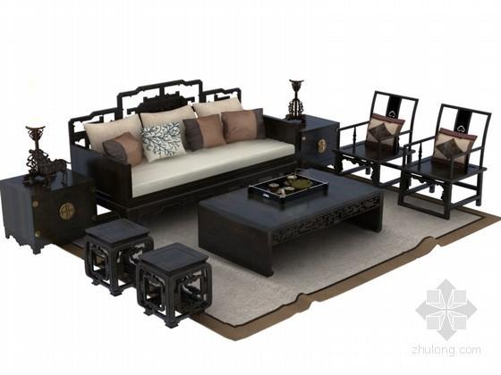 中式茶几沙发3D模型下载