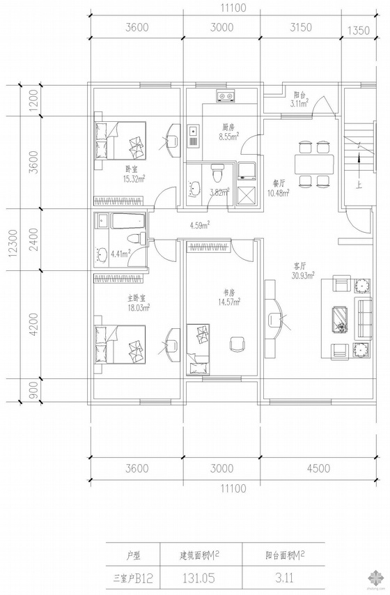 板式高层三室一厅单户户型图(131)