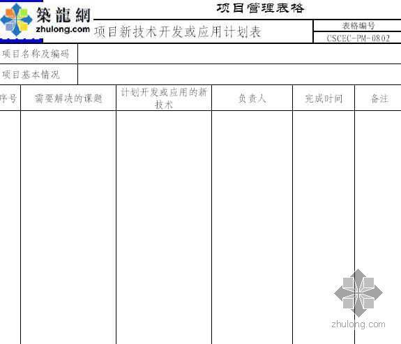 项目新技术开发或应用计划表