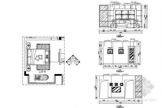 [广州]山水之间新中式风格三层别墅装修图(含效果图)主人房立面图
