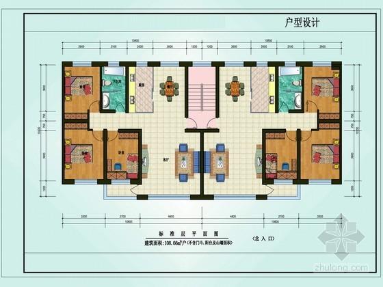 三室两厅一卫户型图(108.66)