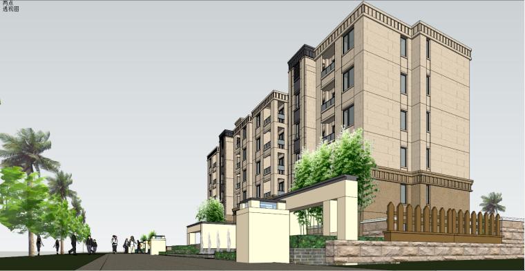 简欧风格住宅建筑设计SU模型