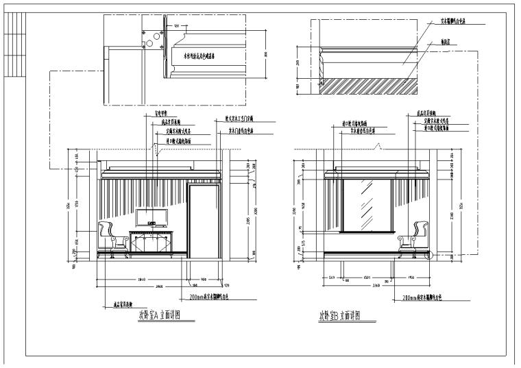 某欧式二层高级别墅室内设计装修详细施工图(37张)