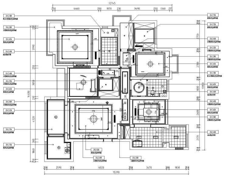 欧式风格阳光国际样板房详细施工图设计-顶面布置图