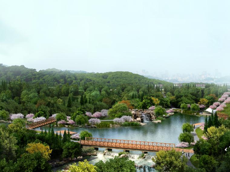 生态滨湖公园景观鸟瞰图PSD分层素材