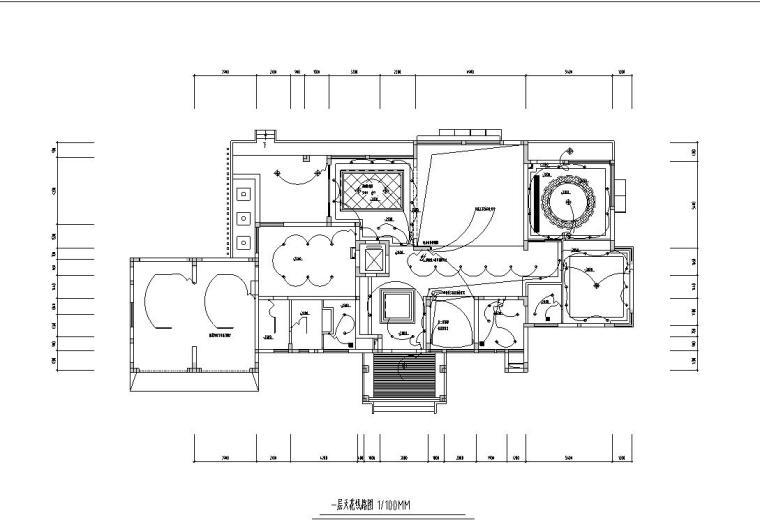 现代风格豪华家装设计施工图效果图-一层天花线路图