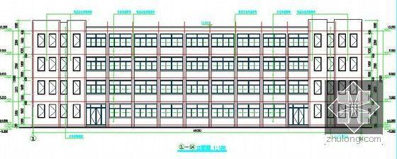 [安徽]学生公寓及食堂建筑安装工程预算书(含施工图纸)-学生公寓立面图