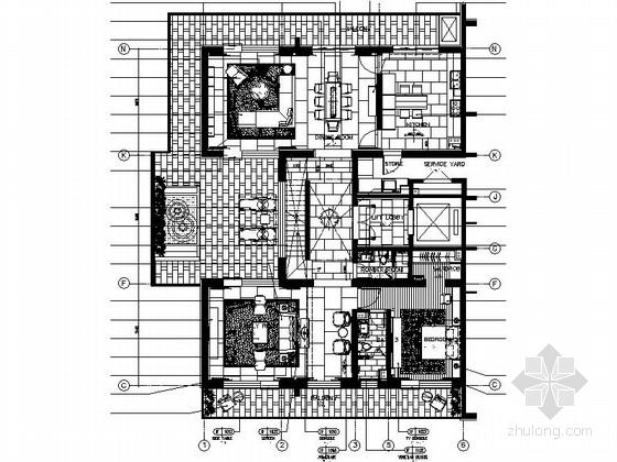[西安]旅游度假区花园式洋房四种风格两层别墅室内装修施工图(含方案)