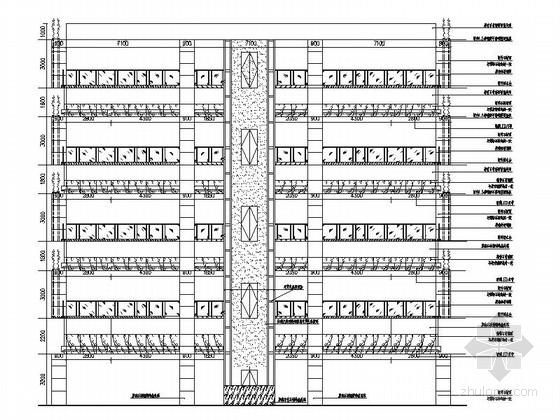 [银川]交通便利配套设施齐全大型家居建材主题购物中心施工图 中庭和观光电梯立面图