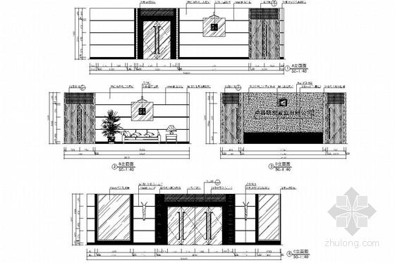 [南昌]大型房地产开发公司售楼处大厅装修图(含效果图) 门厅立面图