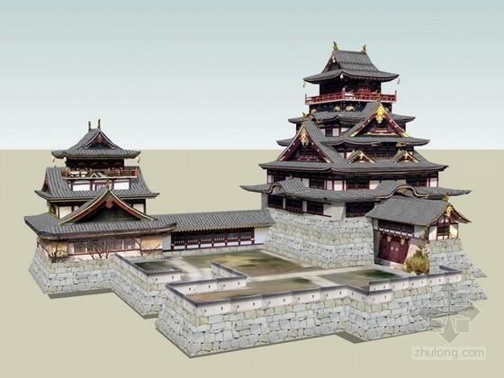 日式仿古建筑群sketchup模型下载