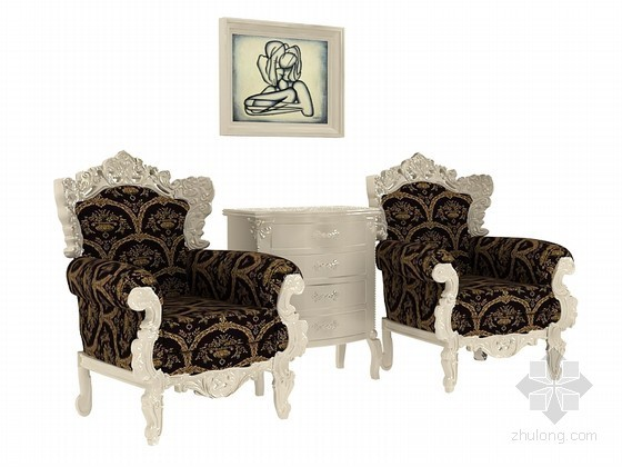 欧式沙发3D模型下载